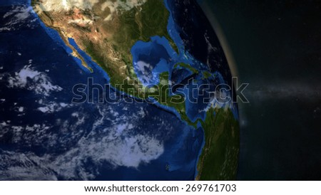 The Earth from space showing Central America - (Extremely detailed map furnished by NASA.)