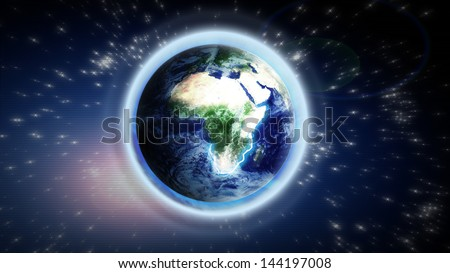 The Earth from space showing Europe and Africa. Extremely detailed image, including elements furnished by NASA - stock photo