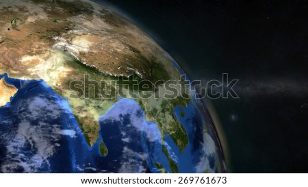 The Earth from space showing India - (Extremely detailed map furnished by NASA.)