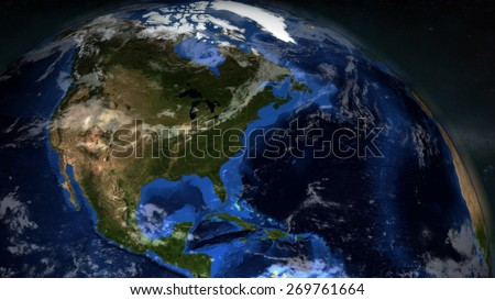 The Earth from space showing North America - (Extremely detailed map furnished by NASA.) - stock photo
