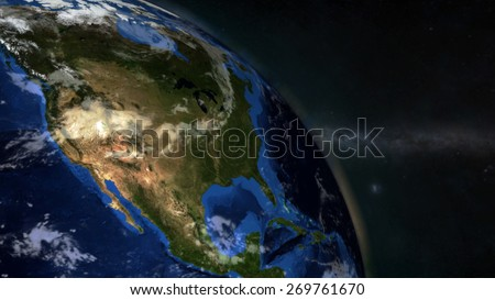 The Earth from space showing North America - (Extremely detailed map furnished by NASA.)