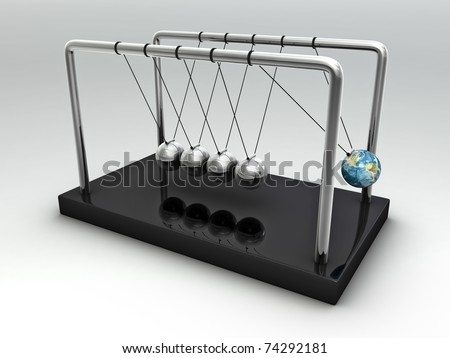 The Earth in Newton's Cradle over white - stock photo