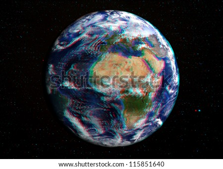 The Earth in space in 3D with stars in the background. View anaglyph with red/cyan glasses.  Europe and Africa shown in this extremely detailed image, including elements furnished by NASA. - stock photo