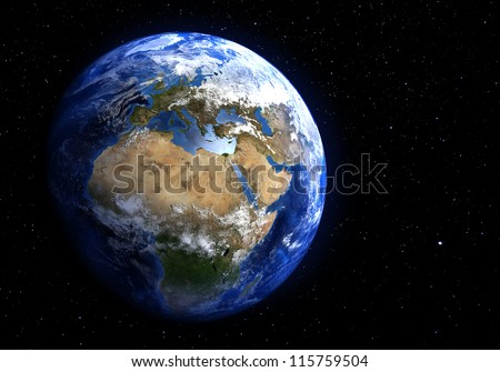 The Earth in space showing Europe and Africa. Extremely detailed image, including elements furnished by NASA. Stars in the background. - stock photo