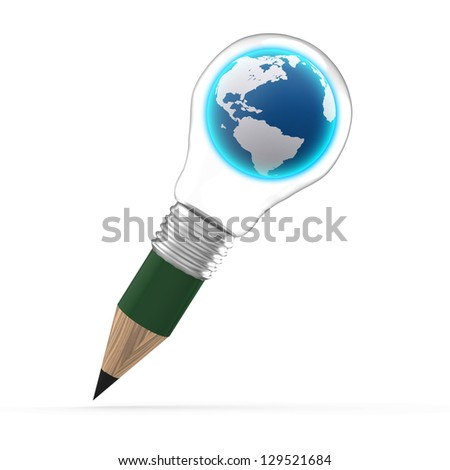 the earth inside a pencil lightbulb as creative concept - stock photo
