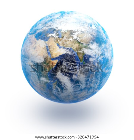 The Earth isolated in white background; Elements of this image are furnished by NASA