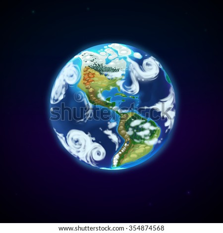 The Earth isolated on black background. North and South America. Cartoon illustration