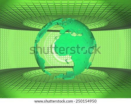 the earth on a green background - stock photo