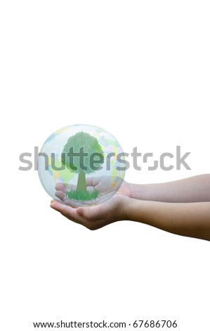 the earth on child hand