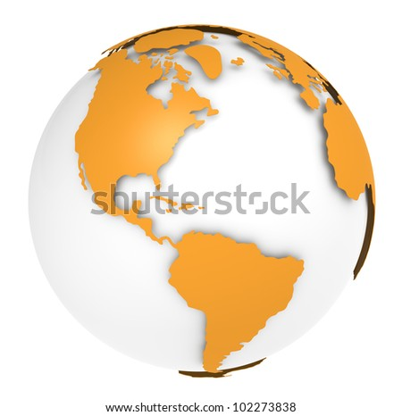 The Earth rotation view 3. The Earth, Orange Shell design. Sparse and Isolated. - stock photo
