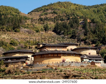 The Earth Tower of Hakka  -an ancient Chinese building in Hujian, China which was in the list ofthe  world heritage by UNESCO. - stock photo