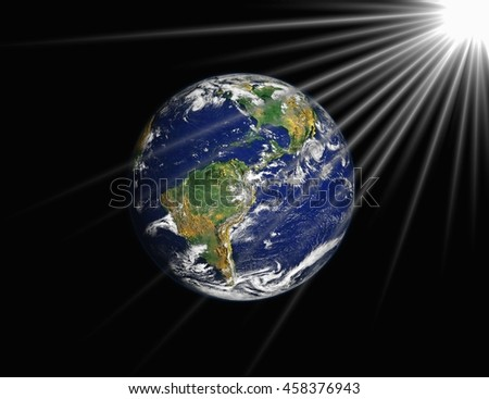 The earth with bright in cosmos from sun,moon,star. Elements of this image furnished by NASA