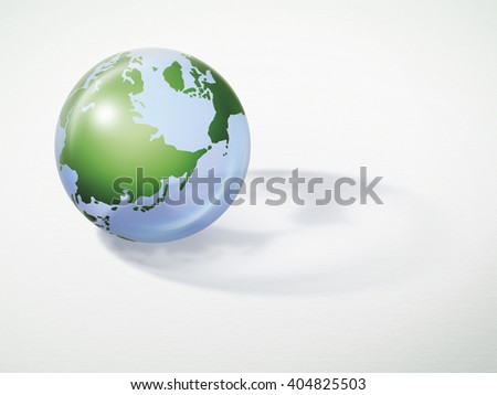 The earth with shadow on white paper background concept for earth day. Elements of this image furnished by NASA