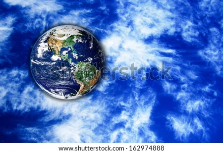 The Earth with sky in background,Elements of this image are furnished by NASA - stock photo
