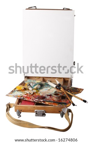 The easel and palette of the artist, is isolated - stock photo