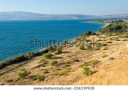 The east coast of the Sea of Galilee in Israel - stock photo