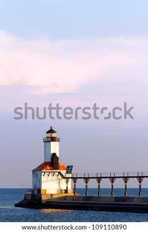 The East Pierhead LIght in Michigan City, Indiana photographed in early morning