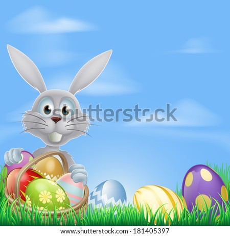 The Easter bunny with a basket of Easter eggs and a grass field background