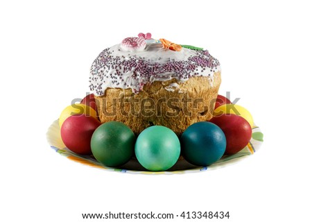 The Easter cake and eggs are painted in the different color