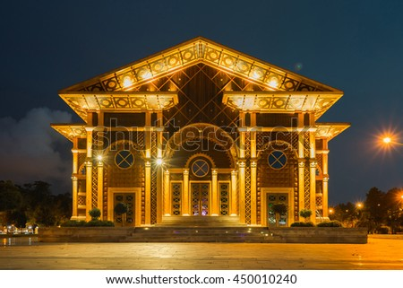 The Eastern architecture of the Summer Theater in the Seaside Park in the evening lights