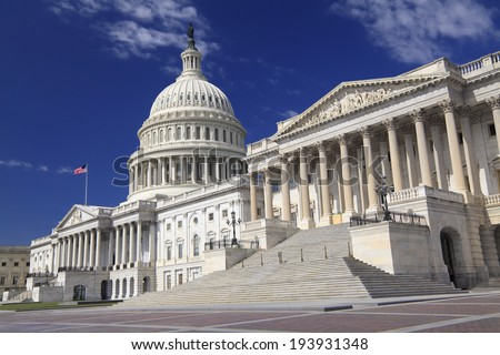 The eastern facade of the US Capitol Building, Washington DC - stock photo