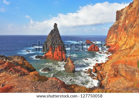 The eastern tip of the island of Madeira. Picturesque colorful cliffs and islands - stock photo