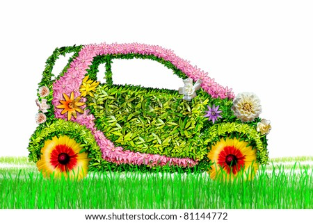 The ecological car from plants on a white background . - stock photo