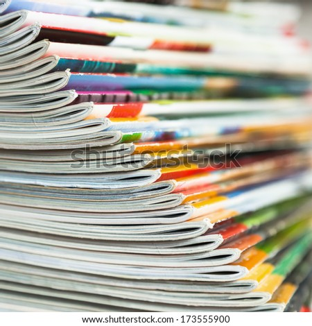 the edge of fanned out magazines