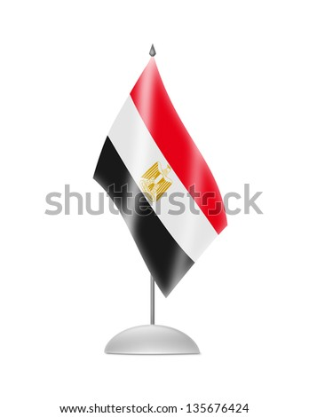 The Egyptian flag. Table Flag. Isolated on white. - stock photo