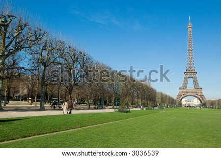 The Eiffel Tower and park in the Spring