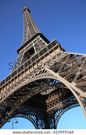 The Eiffel Tower at the Champ-De Mars in Paris, France, which is 300m tall and built in 1889 for the Exposition Universelle on the centenary of the revolution