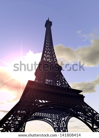 The Eiffel Tower  Computer generated 3D illustration - stock photo