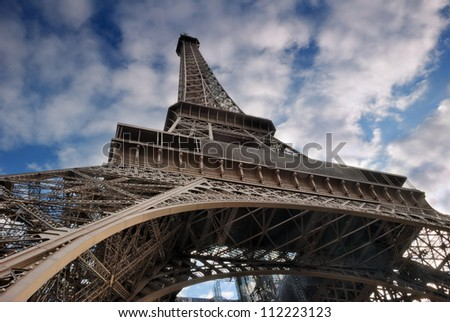 The Eiffel Tower from below upwards. Paris, France.