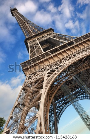 The Eiffel Tower from below upwards. Paris, France. - stock photo