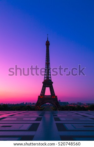The  Eiffel Tower in Paris at Dawn, France