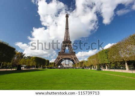 The Eiffel Tower in Paris during beautiful day, France