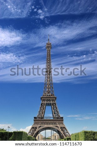 The Eiffel tower in Paris, France. - stock photo