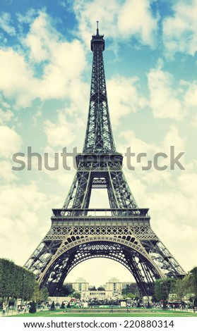 The Eiffel Tower in Paris, France.  Instagram style filter - stock photo