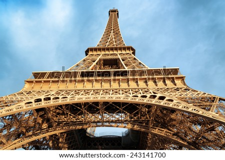 The Eiffel Tower in Paris, France. Paris is one of the most popular tourist destinations in Europe. - stock photo
