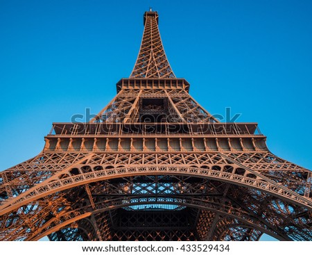 The Eiffel Tower in Paris, France, which is 300m tall and built in 1889 for the Exposition Universelle on the centenary of the revolution - stock photo