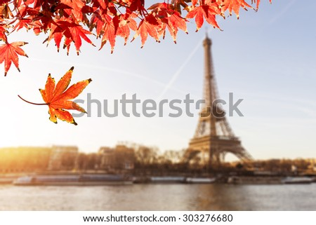 The Eiffel Tower is one of the world's most famous landmark. It is also one of the most visited place in Paris, France. Autumn Concept With Famous Landmark. - stock photo