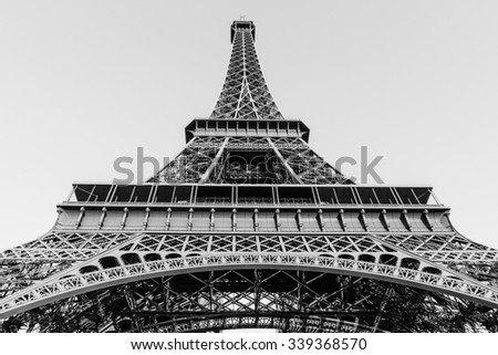 The Eiffel Tower, located on the Champ de Mars in Paris, France , Black and White Tone