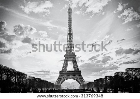 The Eiffel Tower, Paris, France, analog film style - stock photo
