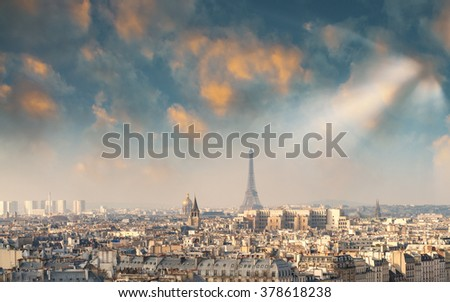 The Eiffel Tower, Paris. View at sunset.