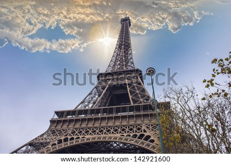 The Eiffel Tower, view from below.