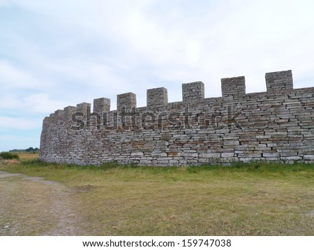 The Eketorp medieval castle on the Island Oeland in the Baltic sea of Sweden