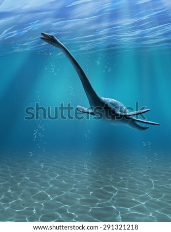 The Elasmosaurus was an aquatic dinosaur that lived during the Cretaceous period - 3d render. - stock photo