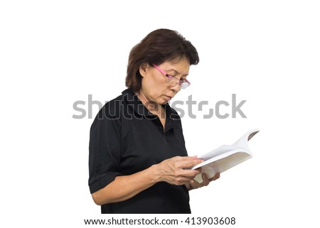 The elderly woman reads the book isolated white on background