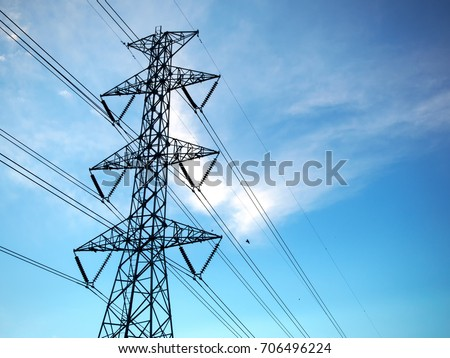 The electric High voltage pole and electric transformer with clear blue sky