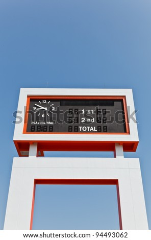 The electric scoreboard with the blue sky background - stock photo